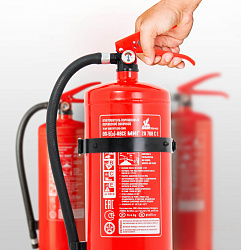 Extinguishers, spraying units, brackets